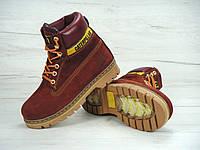 """Ботинки женские зимние замшевые с мехом Cat Caterpillar """"Бордовые"""" размер 36-41"""