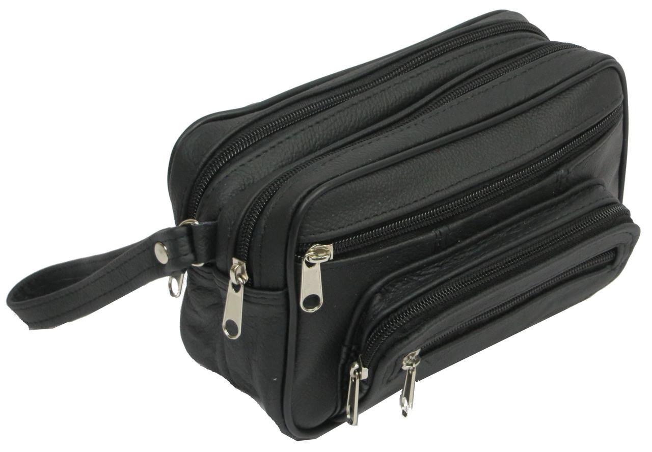 Мужская кожаная сумка-борсетка 41397 Adam черный, фото 1