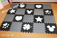 Игровой коврик пазл в детскую 120*150 см (20 шт, черный, белый, серый)