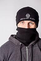 Шапка мужская черная Philipp Plein - Winter 2019, фото 1