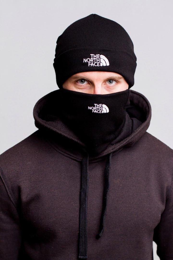Комплект мужской черный шапка и бафф The North Face - Winter 2019