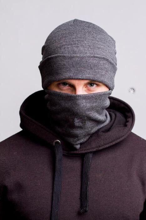 Комплект серый мужской шапка и бафф - Winter 2019