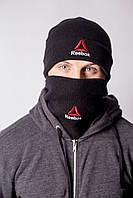 Комплект шапка+бафф Reebok Winter 2018, черная/серая