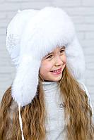 Зимняя  меховая ушанка для девочки на синтепоне  123123  Белый