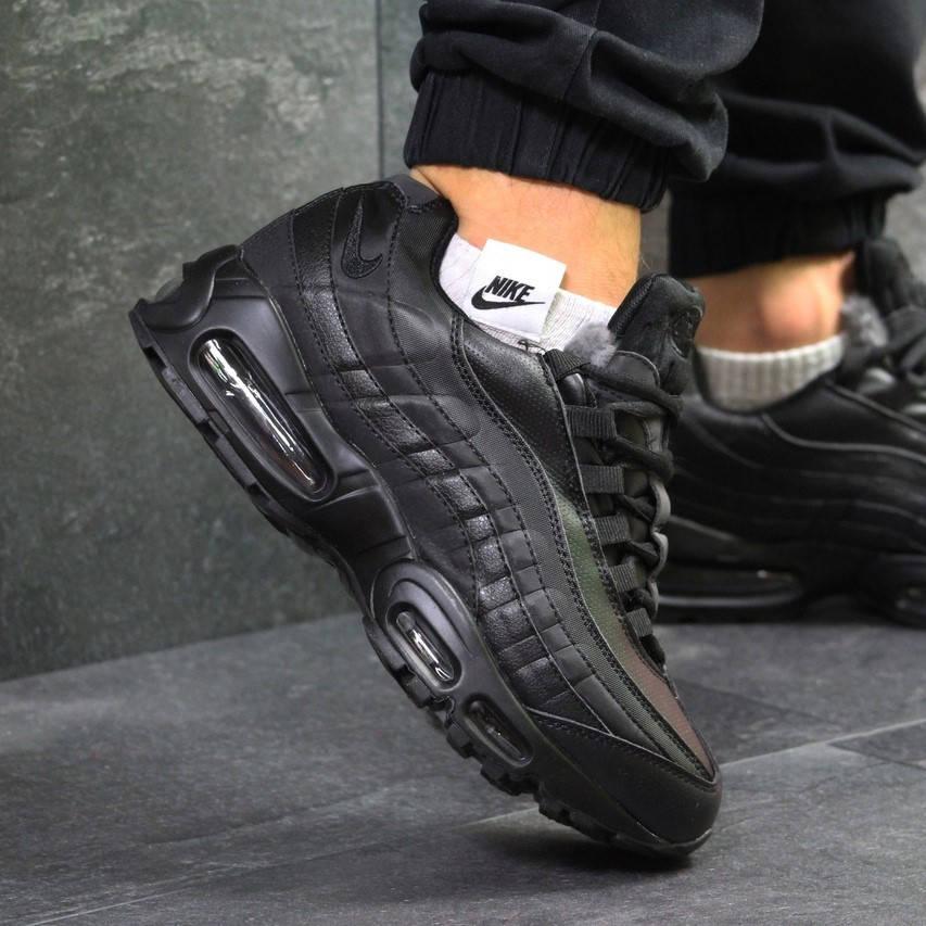 Nike Air Max 95 Black   (зимние с мехом) (в стиле nike)