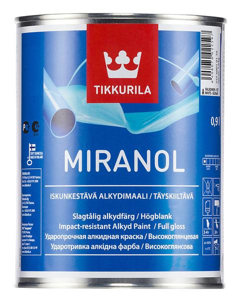 Алкидная высокоглянцевая эмаль Миранол (Miranol), Тиккурила (Tikkurila), А, 2,7л