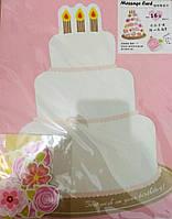 """Листівка-саморобка вітальна велика 37*30 см з наліпками """"Торт з квітами"""""""