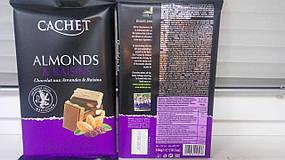 """Шоколад """"Cachet"""" Almonds & Raisins молочный с изюмом и миндалем 300г"""
