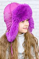 Зимняя  меховая ушанка для девочки на синтепоне  123123  Фиолет