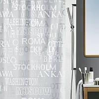 Шторка д/ванної  CITIES(Швейцария) peva 180х200 сріблястий_10.13044