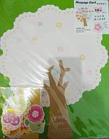 """Листівка-саморобка вітальна велика 37*30 см з наліпками """"Дерево з метеликами"""""""""""