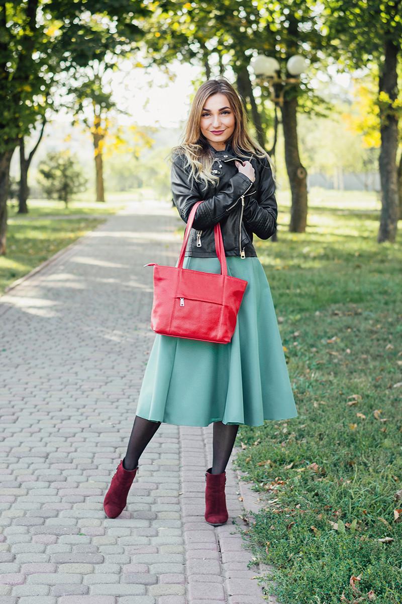 Женская кожаная сумка 30 красный флотар 01300107