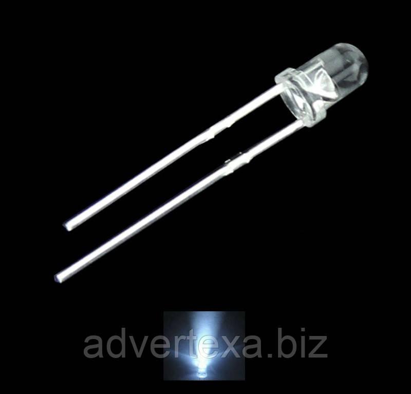 Светодиод 3мм. белого свечения в прозрачном корпусе