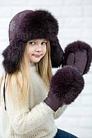 Зимняя  меховая ушанка для девочки на синтепоне  123123  Коричневый темный