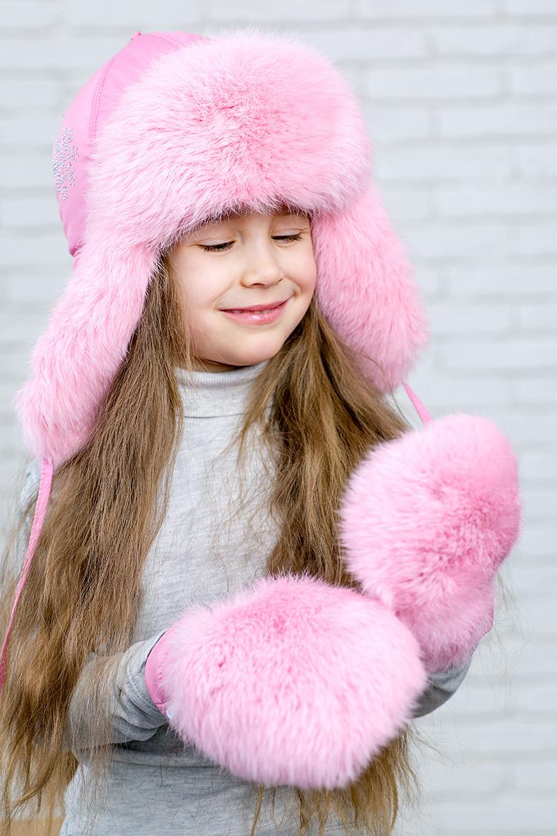 Зимняя  меховая ушанка для девочки на синтепоне  123123  Нежный розовый
