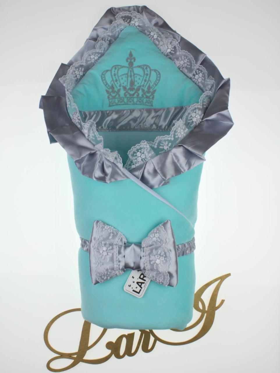 """Демисезонный конверт-одеяло """"Очарование"""", ментоловый с серым"""
