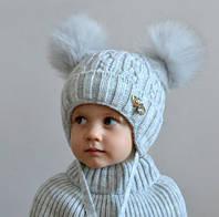 Зимний комплект шапка шарф для девочки Злата, светло-серый (ОГ 46-52, 52-58)
