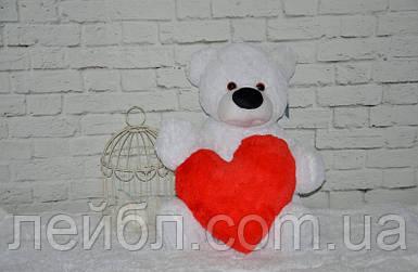 Плюшевый мишка Бублик белый 77 см с сердцем 40см