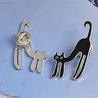Значок на одежду со штырем, Брошь на одежду черный кот, булавка котик