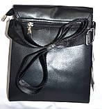 Мужская классическая барсетка из искусственной кожи 22*27 см (черная), фото 3