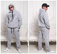 Серый теплый мужской спортивный костюм ARMANI из трехнитки с начесом . Арт-4210/44