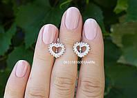 Серебряные серьги Сердечки с камнями, фото 1