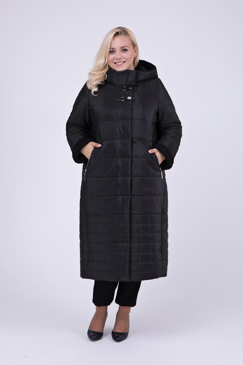 90750e8f08b Женское зимнее теплое пальто в пол с капюшоном 697   размер 52   цвет  черный -