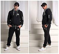 """Черный стильный шикарный теплый мужской спортивный костюм """"Philipp Plein"""" из трехнитки с начесом . Арт-4211/44"""