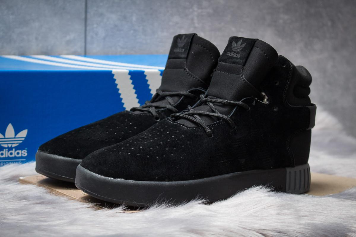 Зимние кроссовки  на мехуAdidas Tubular Invader Strap, черные (30441) размеры в наличии ► [  45 (последняя пара)  ]