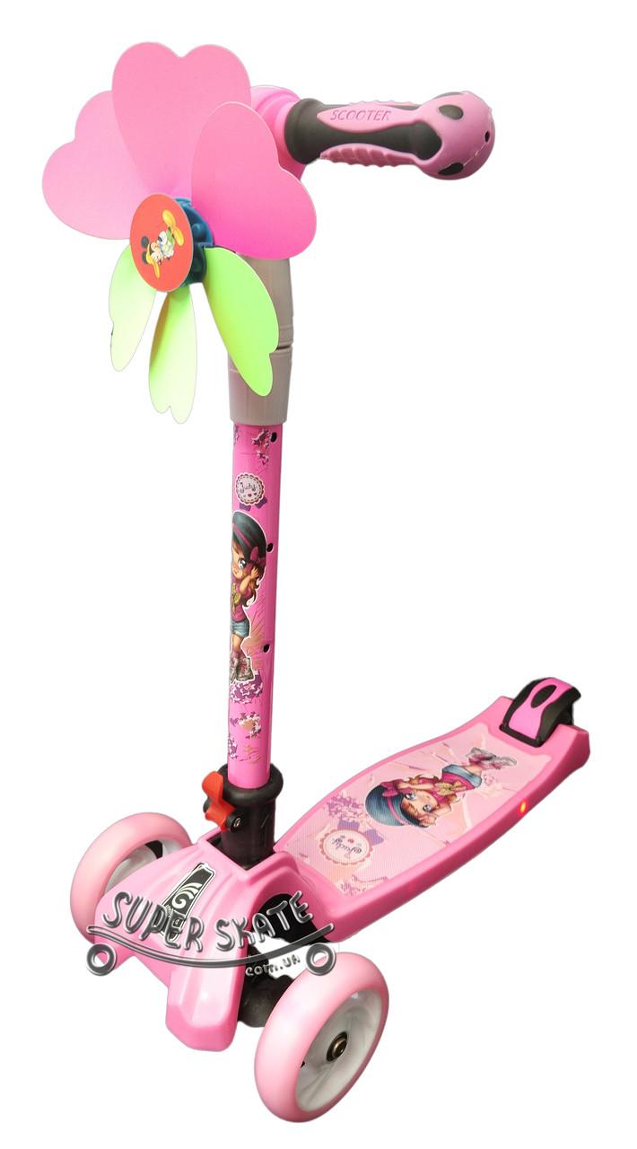 Трехколесный самокат Scooter Smart Plus - Розовый / Складная ручка