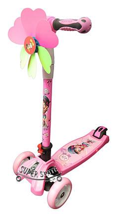 Трехколесный самокат Scooter Smart Plus - Розовый / Складная ручка, фото 2