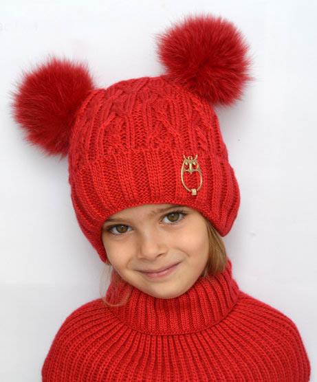 Зимняя шапка для девочки Злата, балабоны из песца, красный (ОГ 46-52, 52-58)