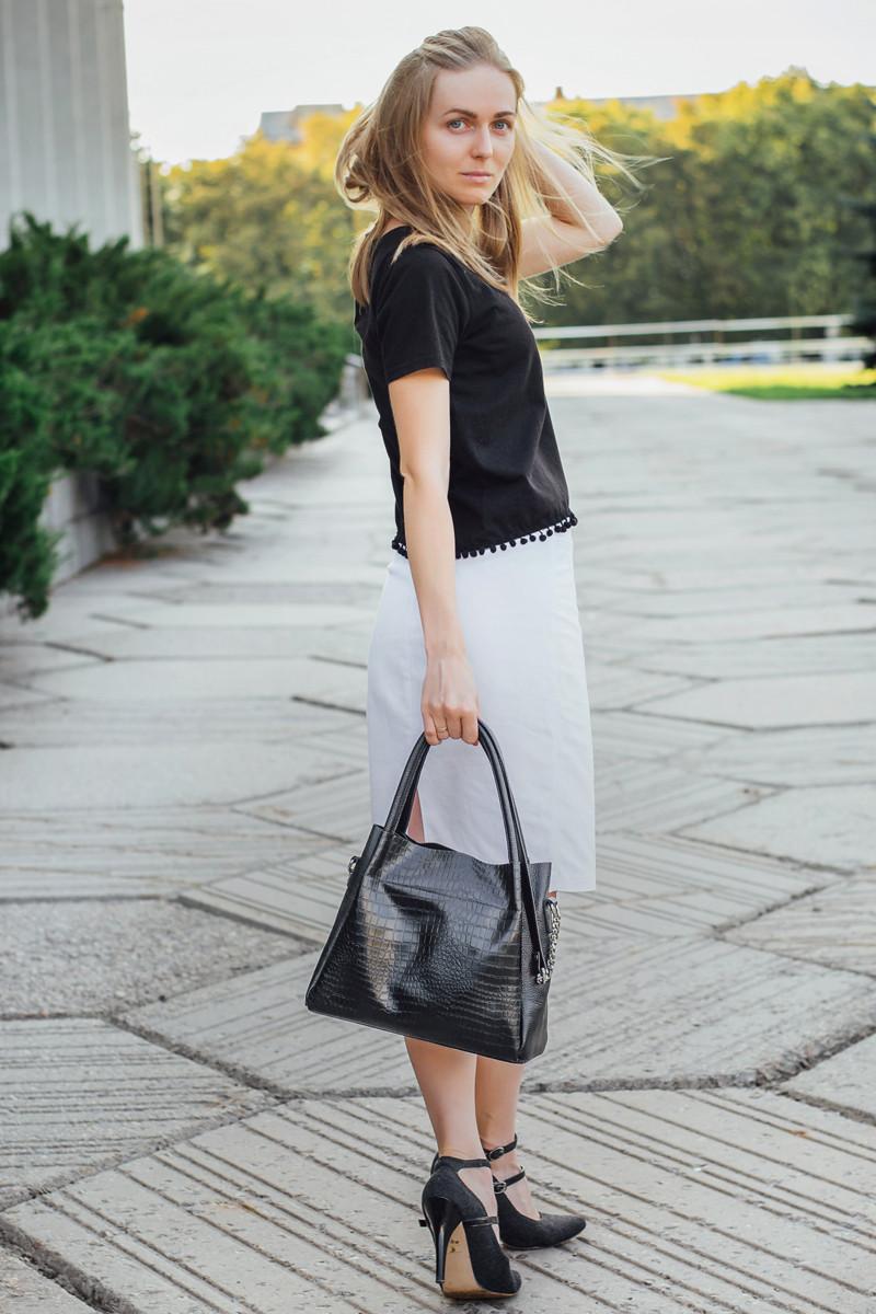 Женская сумка кожаная 33 черный кайман/флотар 013301-0201