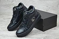 Мужские кожаные зимные ботинки Philipp Plein реплика. КОД: Чл 3