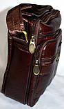 Мужская барсетка на плечо из натуральной кожи размер 18*21 (каштан), фото 2