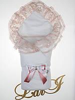 """Демисезонный нарядный конверт на выписку """"Мария"""", белый с розовым"""