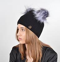 """Женская шапка с 2 помпонами """"Дора"""" Черный, фото 1"""