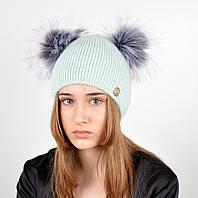 """Женская шапка с 2 помпонами """"Дора"""" Мята, фото 1"""