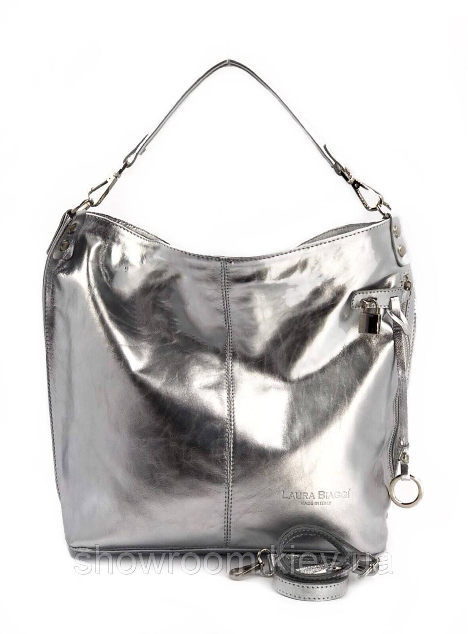 Сумка шоппер женская Laura Biaggi (5405) кожаная серебристая