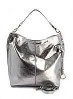 Сумка шоппер женская Laura Biaggi (5405) кожаная серебристая, фото 1