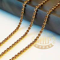 Стразовая цепочка, цвет Lt.Topaz, ss10 (2,8mm), металл золото, 1м