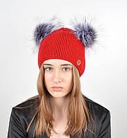 """Женская шапка с 2 помпонами """"Дора"""" Красный, фото 1"""