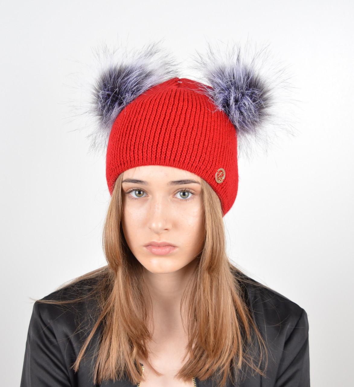 """Женская шапка с 2 помпонами """"Дора"""" Красный"""