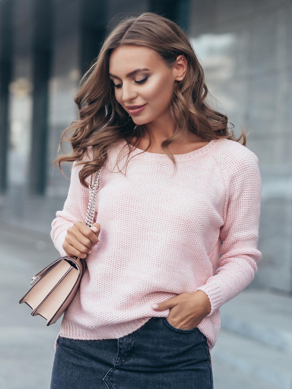 (S-M) Стильний молодіжний рожевий светр Aresty