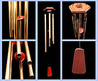 Музыка ветра золотистого цвета 6 трубочек