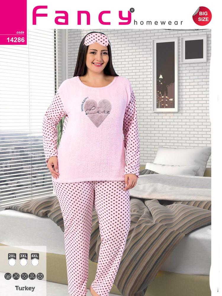 """Розовая пижама женская батальная Soft """"Love"""" FANCY Турция 14286L.pink"""