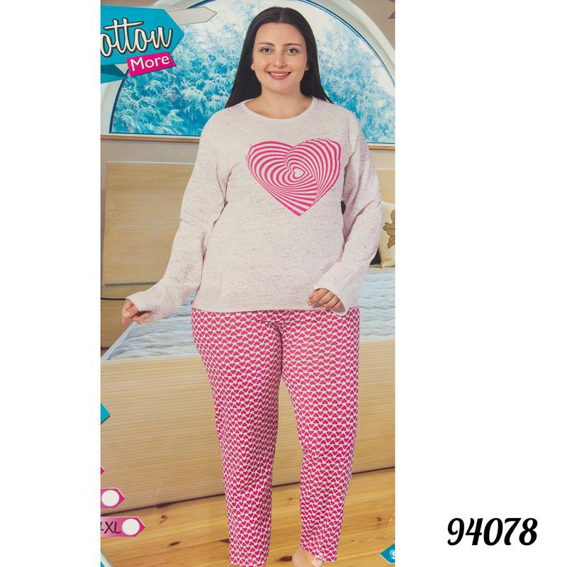 14966a000e2b Зимняя пижама женская больших размеров на байке Сердце COTTON MORE Турция  94078
