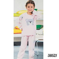 """Теплая пижама детская для девочек Soft """"Мишка"""" Fancy Kids Турция 38521L.pink"""