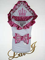 """Зимний конверт-одеяло """"Очарование"""", белый с розовым"""