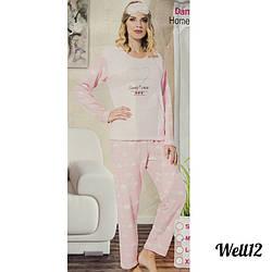 """Пижама женская ростовками """"Soft"""" Eleanore Турция Well12L.pink женские пижамы оптом (3 ед. в упаковке)"""